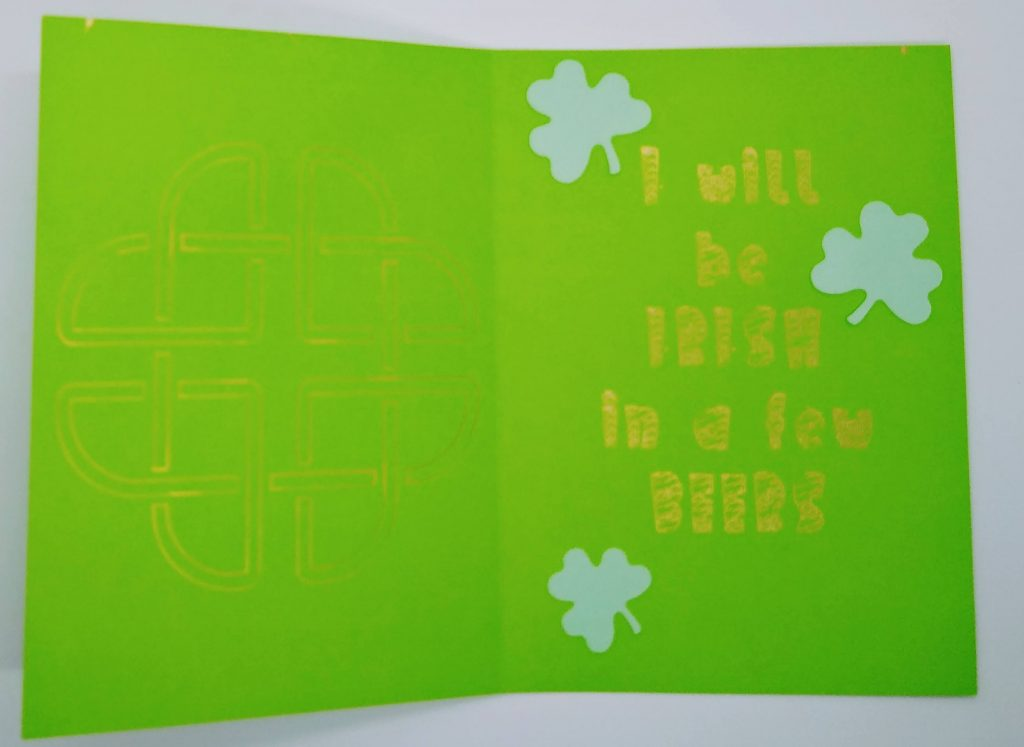 Inside the drinking st patricks day gnome card
