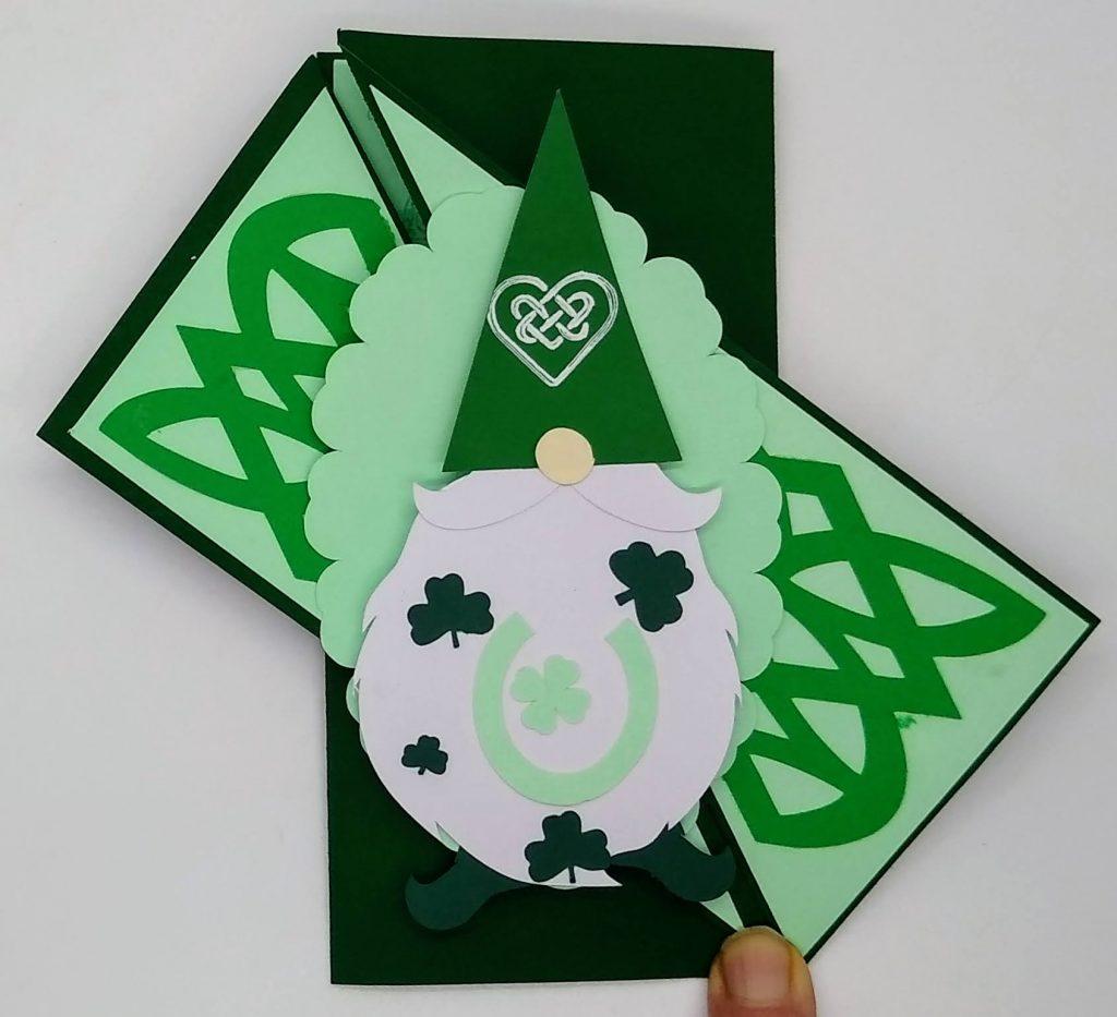 Twisted gatefold st patricks day gnome card