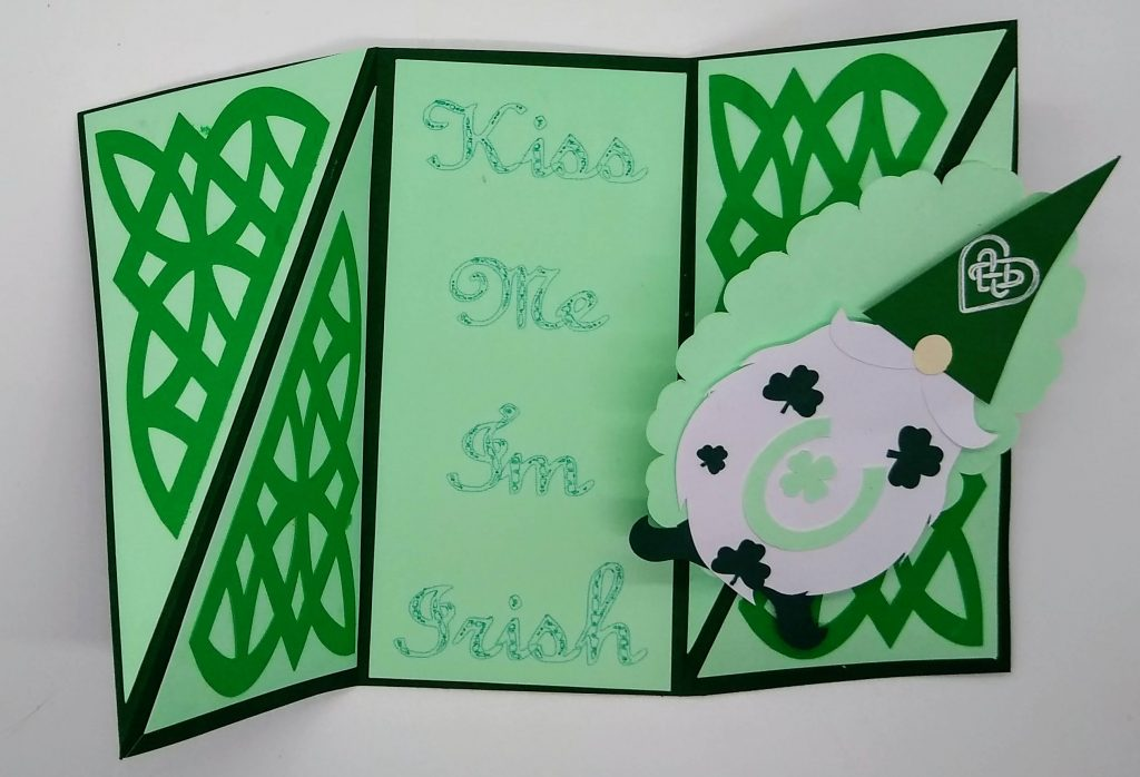 Inside the twisted st patricks day gnome card