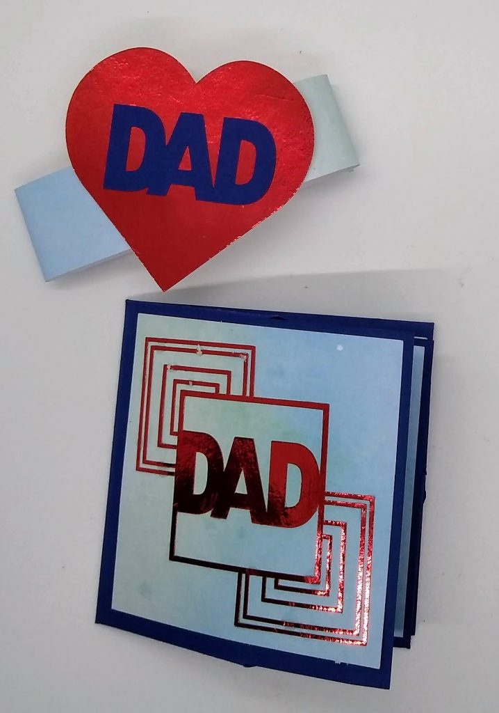 Art Deco Iron Cross Father's Day Card with card band removed
