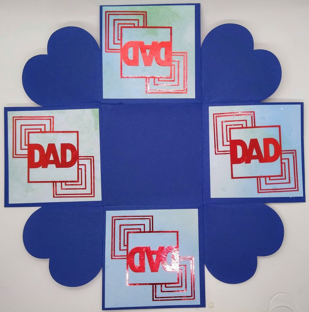 Back of Art Deco Iron Cross Father's Day Card