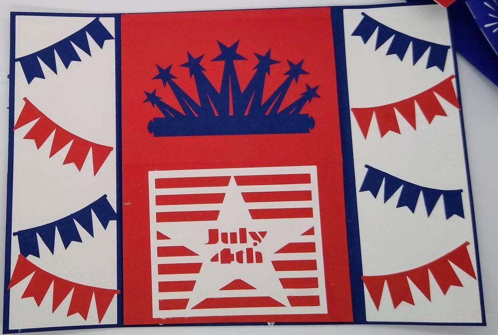 Forth of July gatefold easel combo card inside