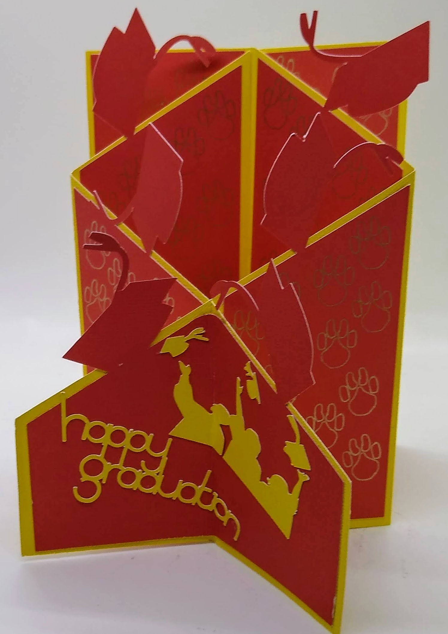 Zig Zag Graduation Card With Throwing Caps