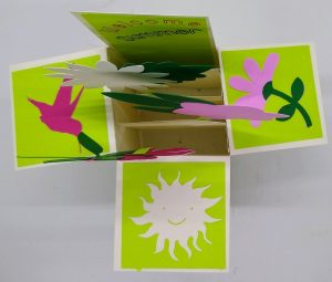 Top View of Flower Box Card for summer