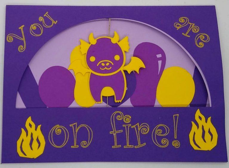 Front of Dragon Birthday Twirl Card