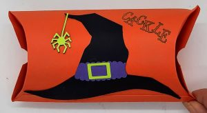 Halloween treat pillow 2021 side 2 witch hat with ends closed