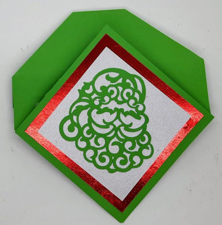 Diamond Easel Christmas Card folded for mailing