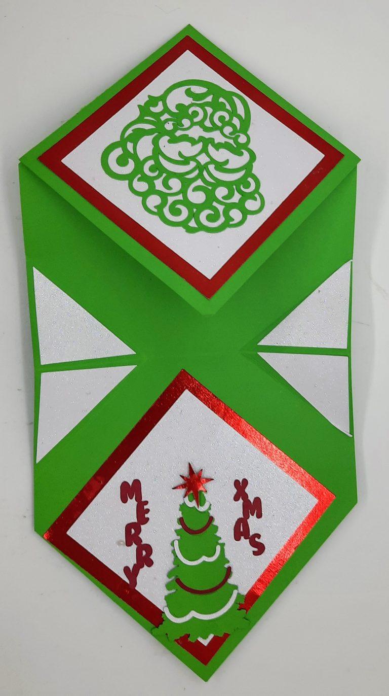 Diamond Easel Christmas Card fully extended