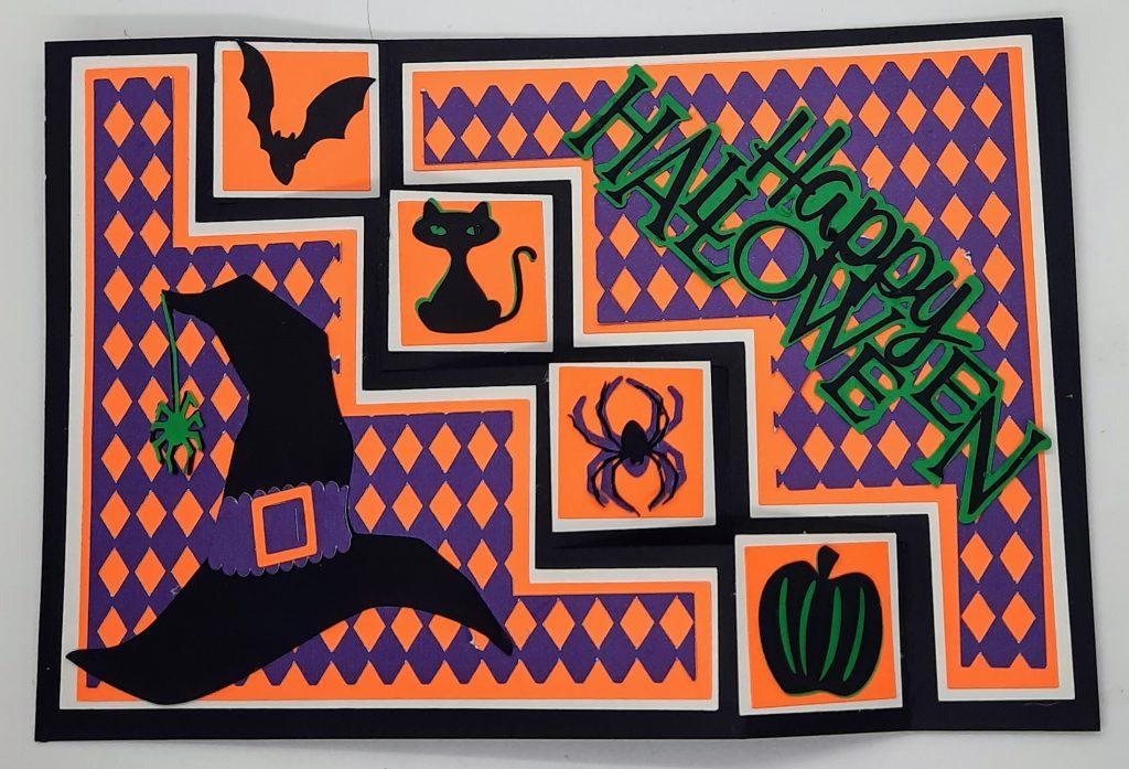 3D Halloween Sideways Step Card laid Flat