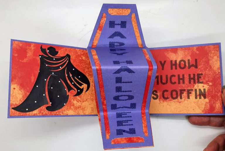 Open twist and Flip halloween Coffin Card