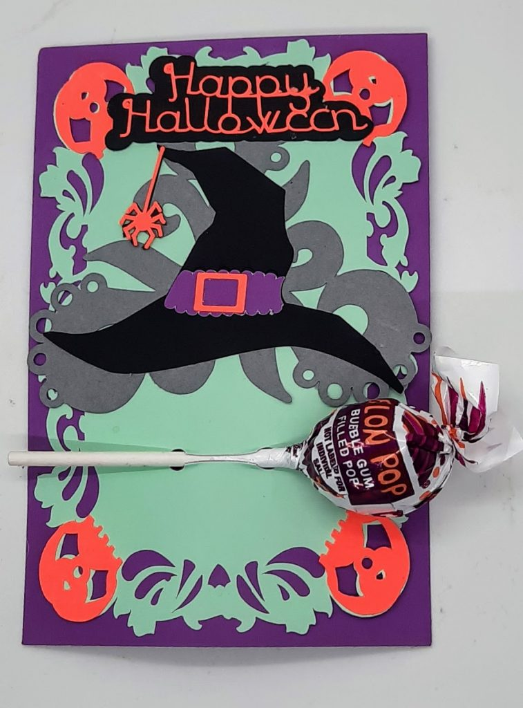 Halloween treats card with candy