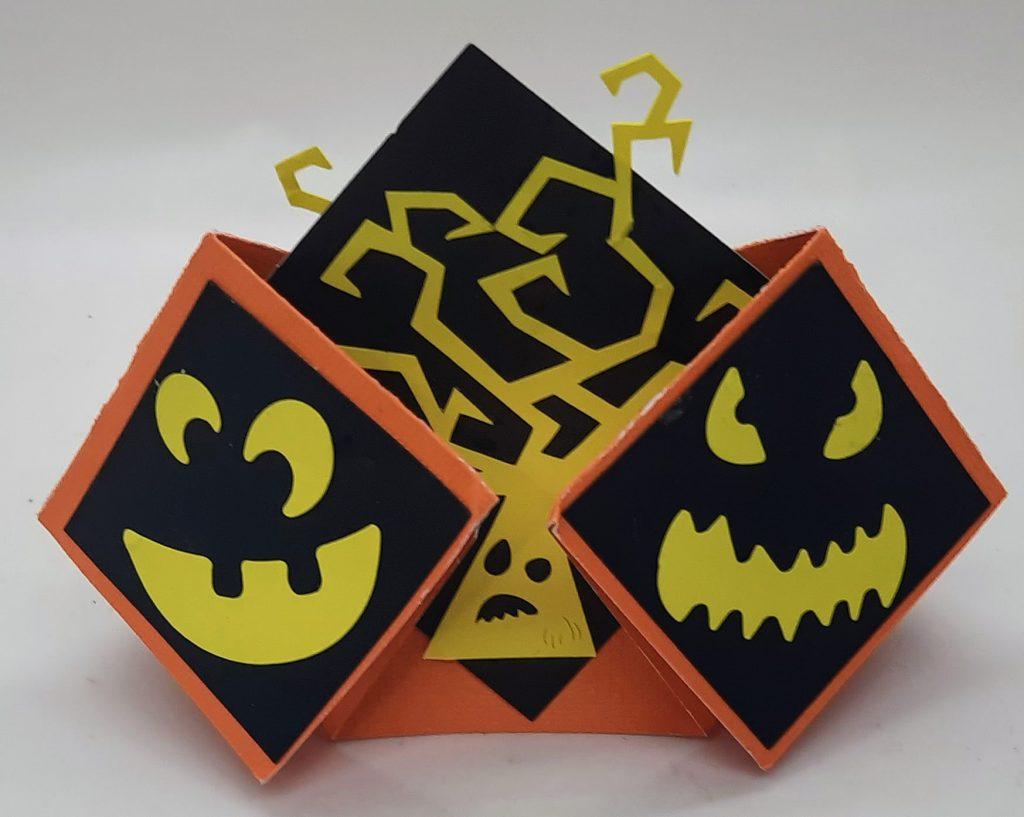 Side 1 of the Halloween double diamond fold card