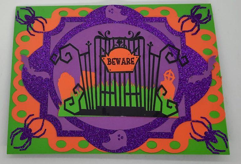 front of pumpkin pop up card