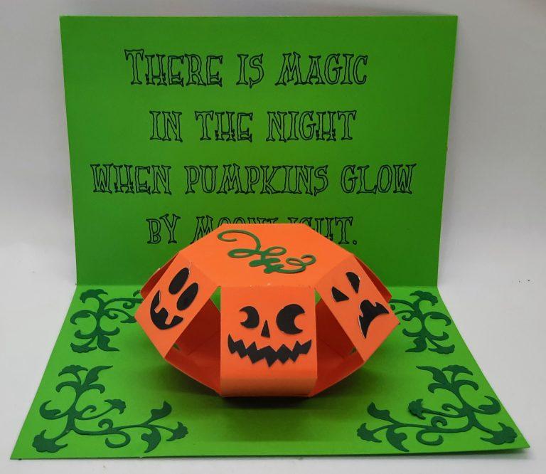 Inside of pumpkin pop up card