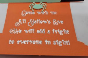 Sentiment close up on the Haunted house easel card